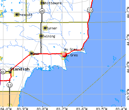 Au Gres, MI map