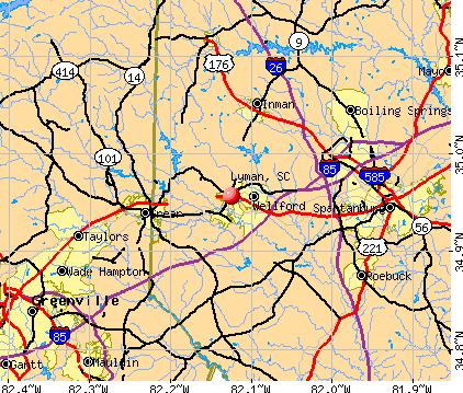 Lyman, SC map