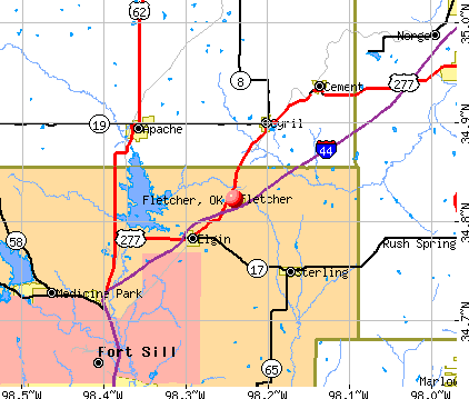 Fletcher, OK map