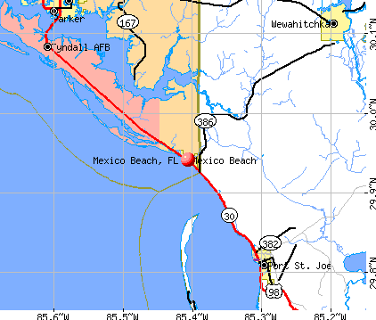 Mexico Beach, FL map