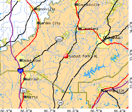 Locust Fork, AL map
