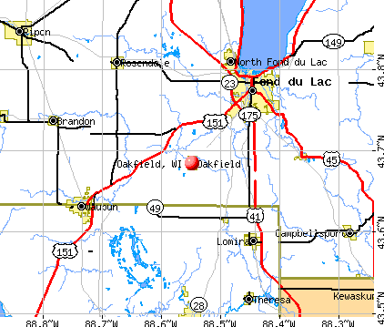 Oakfield, WI map