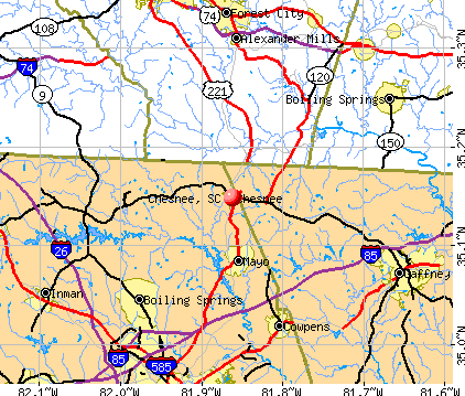 Chesnee, SC map