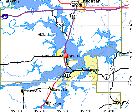 Eufaula, OK map