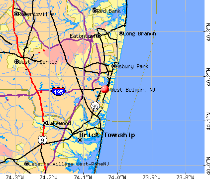West Belmar, NJ map