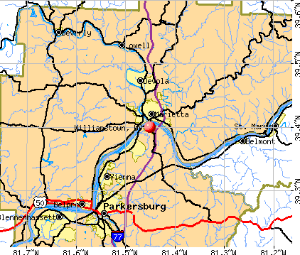 Williamstown, WV map
