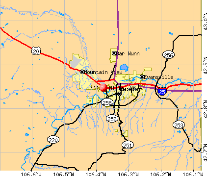 Mills, WY map