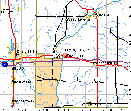 Covington, IN map