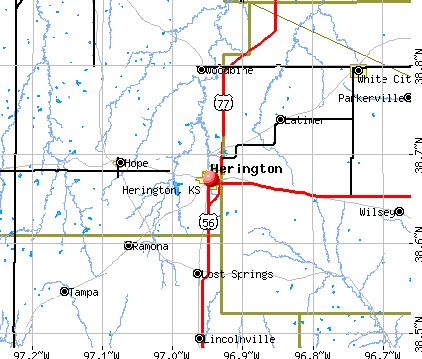 Herington, KS map