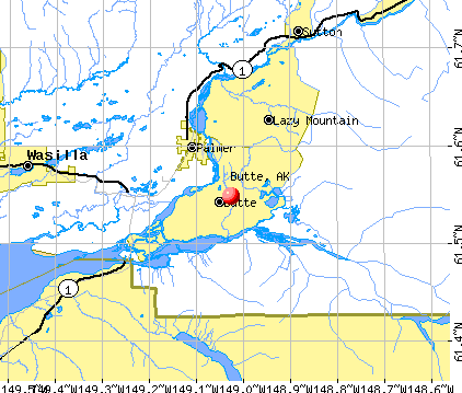 Butte, AK map