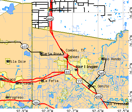 Combes, TX map
