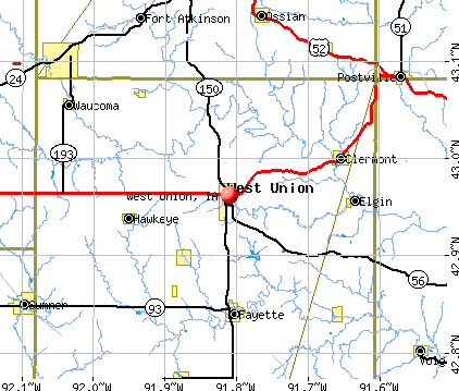 West Union, IA map