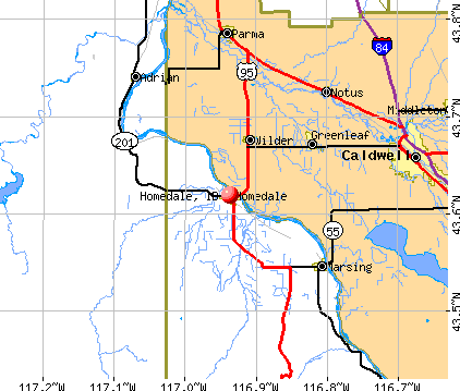 Homedale, ID map
