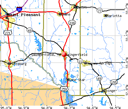 Daingerfield, TX map