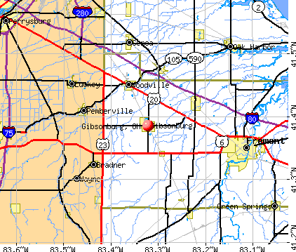 Gibsonburg, OH map