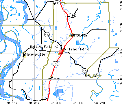 Rolling Fork, MS map