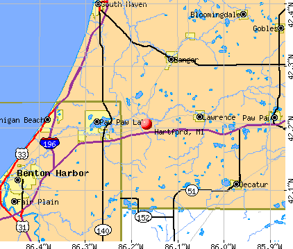 Hartford, MI map