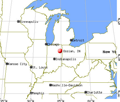 Ossian, Indiana map