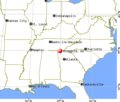 Ringgold, Georgia map