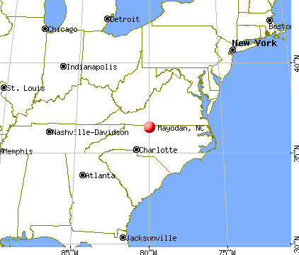 Mayodan, North Carolina map