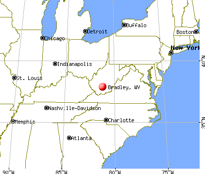 Bradley, West Virginia map