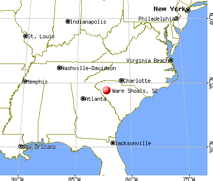 Ware Shoals, South Carolina map