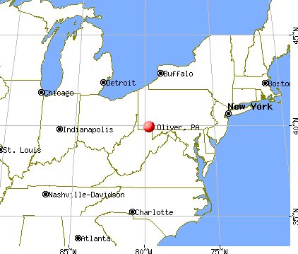Oliver, Pennsylvania map