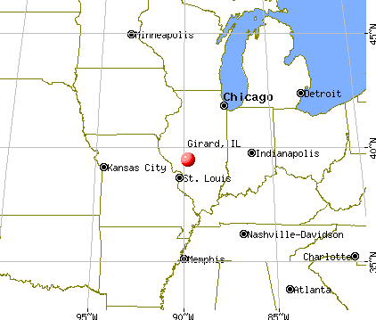 Girard, Illinois map
