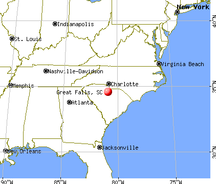 Great Falls, South Carolina map