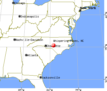 Whispering Pines, North Carolina map