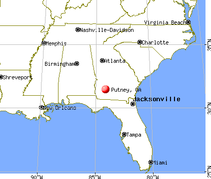 Putney, Georgia map