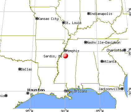 Sardis, Mississippi map