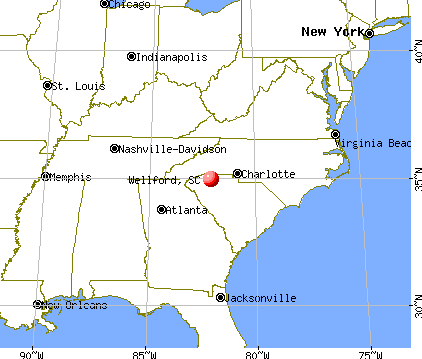 Wellford, South Carolina map