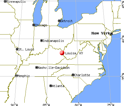 Louisa, Kentucky map