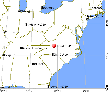 Toast, North Carolina map
