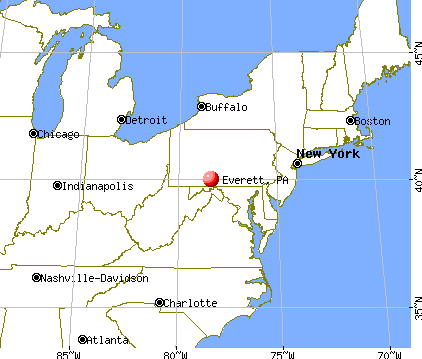Everett, Pennsylvania map