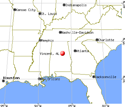 Vincent, Alabama map