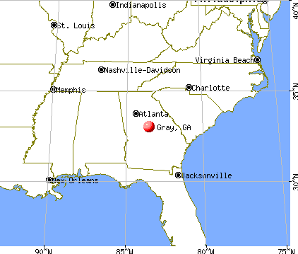 Gray, Georgia map