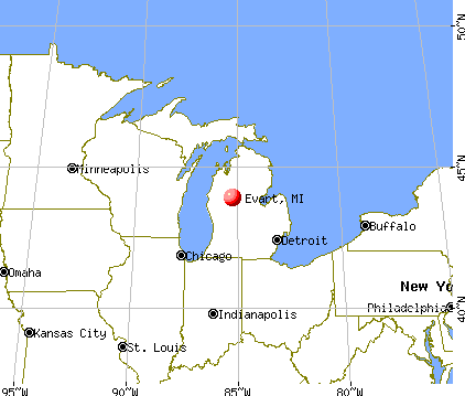 Evart, Michigan map