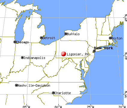 Ligonier, Pennsylvania map