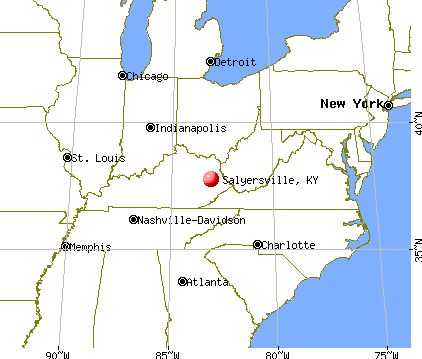 Salyersville, Kentucky map