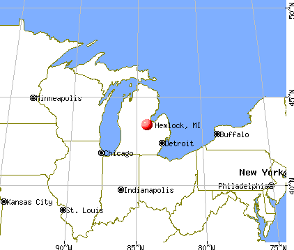 Hemlock, Michigan map