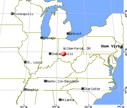 Wilberforce, Ohio map