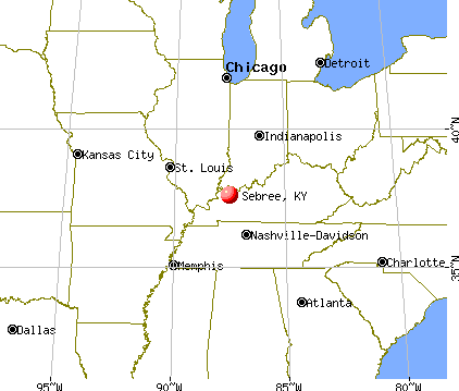 Sebree, Kentucky map