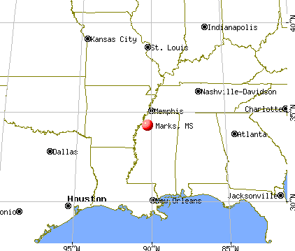 Marks, Mississippi map