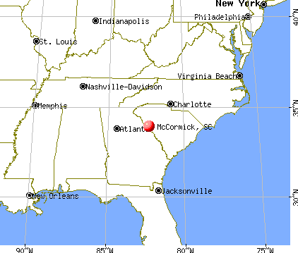 McCormick, South Carolina map