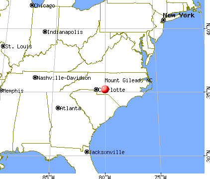Mount Gilead, North Carolina map