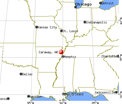 Caraway, Arkansas map