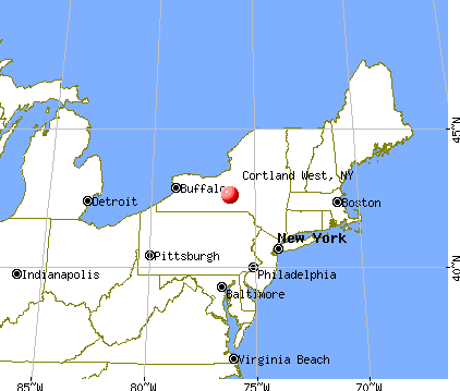 Cortland West, New York map