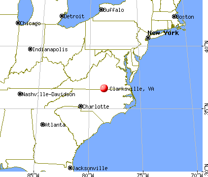Clarksville, Virginia map